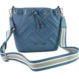 MICHAEL KORS FRENCH BLUE QUILTED LEATHER PEYTON